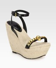ALEXANDER MCQUEEN SHOES ESPADRILLE WEDGE SANDALS BLACK LEATHER 38.5 Skull