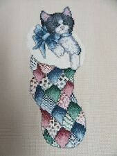 Finished Cross Stitch Kitty Cat Quilted Christmas Stocking Completed 11x14