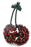 Signed Austria Red Rhinestone Cherry Brooch Green Leaves Vintage Japanned Pin
