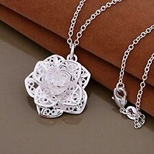 "3D Rose Flower Silver Plated Pendant Necklace - 18"" / 45cm Long Chain"