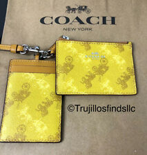 COACH LANYARD WALLET SET ID HOLDER HORSE AND CARRIAGE YELLOW F79945 New