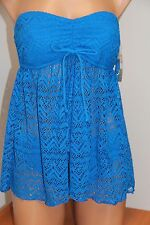 INC International Concepts Swimsuit Tankini Bikini 2pc set  Sz 8 Blue Crochet