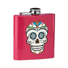 Hip Flask Skull Design Stainless Steel Pink Finish 6oz Liquor Whiskey Alcohol