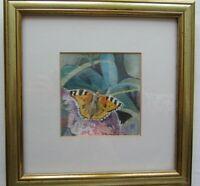 """1960s Original watercolour of Tortoishell Butterfly by Joy Moorhead. 9.2"""" x 9.4"""""""