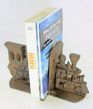 Cast Iron Train Bookends Old Timey Brown Primitive Heavy Locomotive Engine book