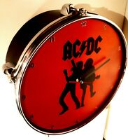 ACDC Drum Clock upcycled Brian Johnson - Angus young