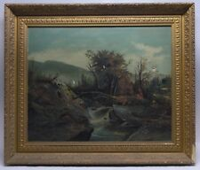LARGE 1880 AMERICAN LUMINIST MOUNTAIN WITH STREAM & CATTLE SIGNED OIL ORIG FRM
