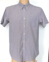 "Ben Sherman Shirt Mens Short Sleeve Greys Pinks Check Button Down XL P2P 23"""