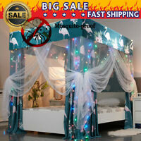 Four Fours Flamingo Lightproof Bed Curtain Canopy +Mosquito Net+Bed Frame Post