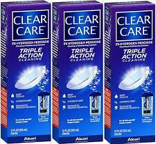 Contact Lens Solution Triple Action Cleaning CLEAR CARE 12oz ( 3 pack )