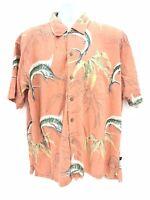 Newport Blue Short Sleeve Button Up Shirt Mens Large Regular Marlin Fish  Casual