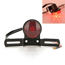 Red Lens Motorcycle Brake Rear License Plate Bracket Tail Light Universal 12V E&