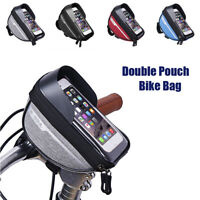 1L Cycling Bicycle Frame Front Top Tube Bag Double Pouch Bike Mobile Phone Bag