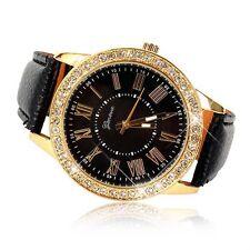 Bling Crystal Women Watch Luxury Leather Strap Round Quartz Wrist Watch Black