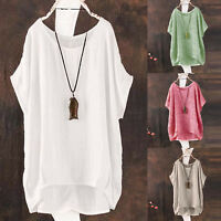 Plus Size Womens Summer Blouse Cotton Linen Short Sleeve Casual Loose Shirt Tops
