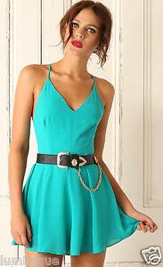 Emerald Cross Back V Neck Romper Lined S 8 10 Playsuit Skirt Dress Party Chiffon