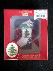 Spode Christmas Tree Kitten in Stocking Ceramic Ornament NIB