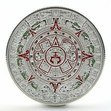 Mayan Silver Plated Aztec Prophecy Calendar Commemorative Coin Collection Gift