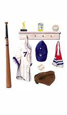 Tatouage Baseball Glove, Bat, Ball Dry Rub Transfer DIY Mural