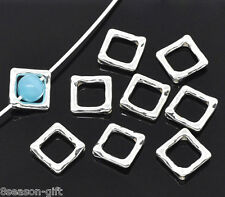 250 Silver Plated Square Bead Frames 12x12mm Findings