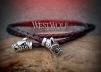 Braided Black Leather Bolo with Wolf Head Terminals - Necklace/Cord/Rope/Pendant