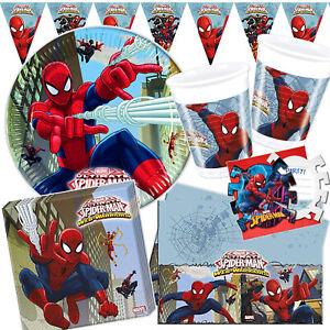 SPIDERMAN WEB WARRIORS - Geschirr Deko Kinder Geburtstag Spider-Man Party Set