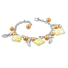 Golden Pearl Glass Bead Dangly Shoe Charm Bracelet nickel free gift jewellery UK