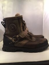 POLO RALPH LAUREN Men CONQUEST II HIGH Ankle BOOTS Leather Gray Buckle Zip 7.5 D