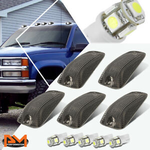 5-Piece Cab Roof Running Light Smoked Housing White LED For 88-02 Chevy/GMC C/K