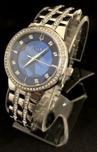 Bulova Women's Phantom Swarovski Blue Dial Bracelet Watch 96L276 Excellent