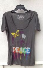 $38 Five Crown Brand Scoop Neck Gray Multi Color Peace Butterfly Graphic Size M