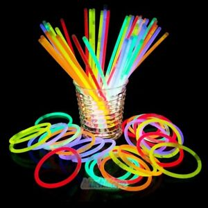 """1500x 8"""" Glow In The Dark Sticks 8 Colors Bracelets Necklaces Party Favors Pack"""