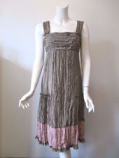 PERUVIAN CONNECTION Brown Pink Crinkle Pleat Silk Strap Dress US 4