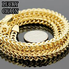 "Box Chain Necklace 6mm 121g Ip40 Men`S 36"" Stainless Steel Gold Franco"