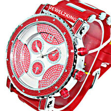 MENS ICED OUT RED/SILVER ICE NATION HIP HOP WATCH WITH SILICONE BULLET BAND