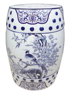 Oriental Chinese Blue White Porcelain Stool Table Pheasants and Peonies