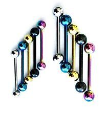 14mm 16mm 14g 16g Anodized Titanium Tongue Piercing Straight Nipple Barbell  Bar