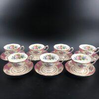 14 Pc Royal Albert Lady Carlyle Bone China Teacups & Saucer Set of 7 Pink Exc!