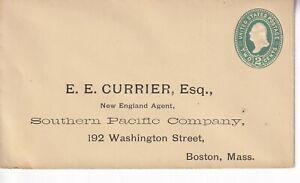 USA Postal Stationary E.E. Currier, 1887 Scott U72 U322 CV $70