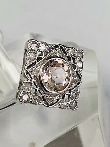 ART DECO STYLE 9CT WHITE GOLD RHOMBUS CLUSTER RING PINK MORGANITE  AND DIAMONDS