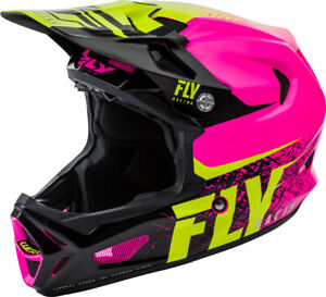 Fly Racing BMX Werx Carbon Imprint Helmet Pink / Hi-Vis LARGE