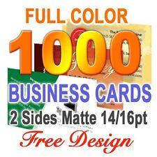 1000 Business Cards Matte 2 sided & Free Custom Design