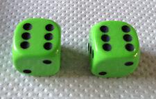 2x LIME GREEN Dice Dust Valve Caps novelty