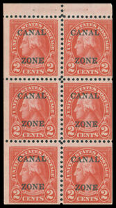 CANAL ZONE 1927 2c CARMINE ROTARY PRINTING BOOKLET PANE OF SIX MNH #101a fresh M