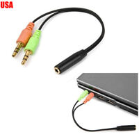 Headphone & Mic Combine Adapter 3.5mm male 2 in 1 female for headset PC/Laptop