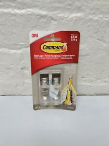 1pck 3M Command Silver 4 Small Hooks 5 Strips Damage Free Hanging 17031SS-4ES