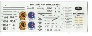 Loose, Testors TOP GUN (MOVIE) F-14 TOMCAT Decals 1/72 #273 No Instructions