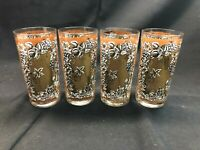 Vintage Mid Century MCM Gold Leaf Grape Tumbler Glasses Set of 4! Excellent