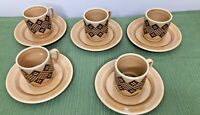 Pagnossin Italy Traviso  774 Demitasse Espresso 5 Cups 5 Saucers Set Coffee