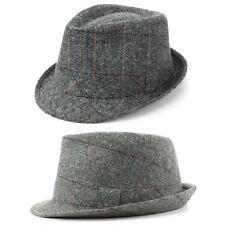 Trilby Hat Wool Tweed Fedora Cap Mens Unisex Country Brim Grey Check Hawkins